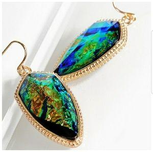 Jewelry - Opal Green Acetate Marquee Earrings